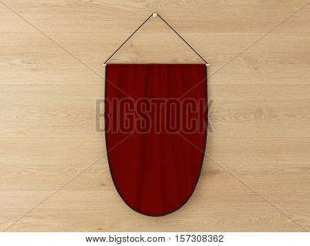 Pennant Hanging On A Wall. Include Clipping Path.
