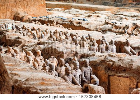 View Of The Terracotta Warriors, The Qin Shi Huang Mausoleum
