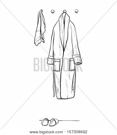 Robe for the shower, bathrobe, doodle style, sketch illustration, hand drawn vector