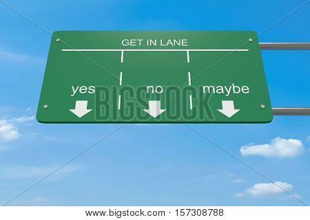 Get In Lane Decision Concept: Yes Or No Or Maybe 3d illustration