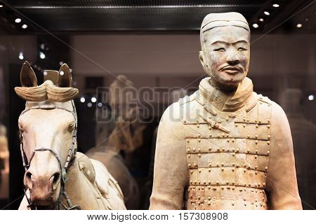 Cavalryman With His Saddled War-horse Of The Terracotta Army
