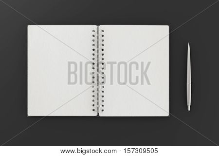 Blank Facing Pages Of Notebook On A Spring With Leather Cover.