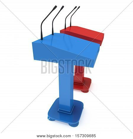 Two Speaker Podiums. Red and blue Tribune Rostrum Stand with Microphones. 3d render isolated on white background. Debate press conference concept