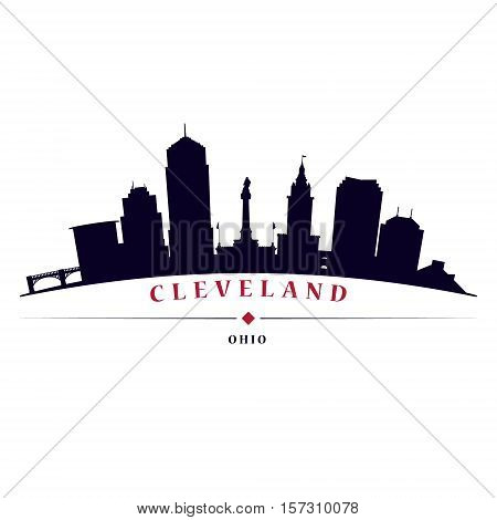 Cleveland skyline black silhouette in white background in editable vector file.