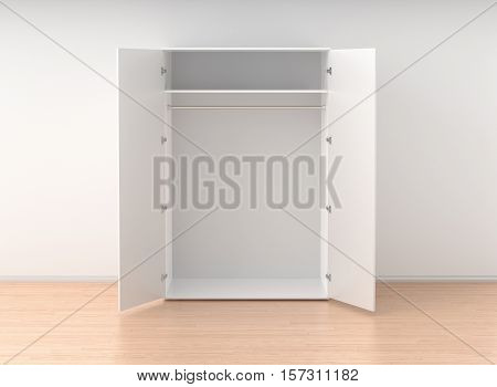 Empty Open Wardrobe Isolated Against The White Wall In Bright Interior