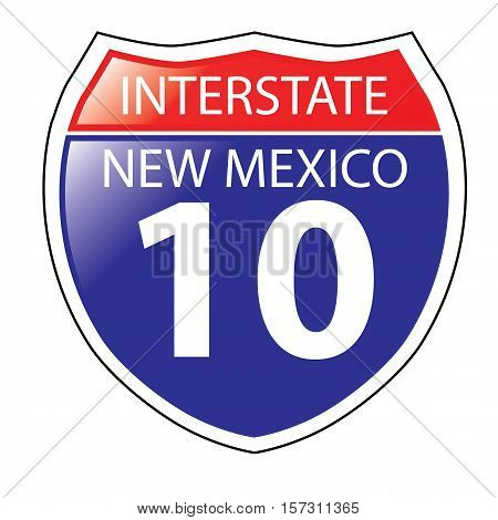 Layered artwork of New Mexico I-10 Interstate Sign