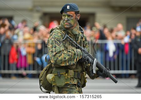 Buenos Aires, Argentina - Jul 11, 2016: Argentine soldier at the military parade during celebrations of the bicentennial anniversary of Argentinean Independence day.