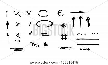 Set of hand drawn vector markers - arrows, circle marks,check marks, underlines.  Isolated on white background.