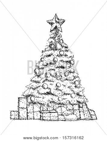vector - christmas tree - isolated on background