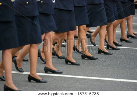 Buenos Aires, Argentina - Jul 11, 2016: Members of the Argentine air forces at the military parade during celebrations of the bicentennial anniversary of Argentinean Independence day.