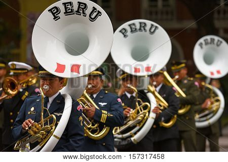 Buenos Aires, Argentina - Jul 11, 2016: Members of the Peruvian military band perform at the parade during celebrations of the bicentennial anniversary of Argentinean Independence day.