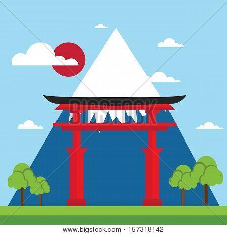 Landscape of japan gate - mountain fuji landscape design flat landmark illustration vector stock