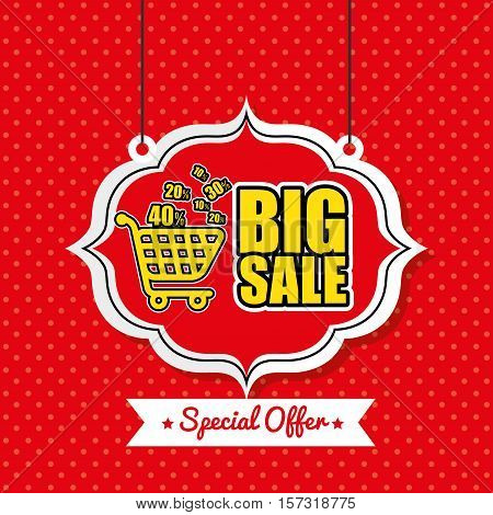 poster big sale shop cart vintage red polka dot vector illustration eps 10
