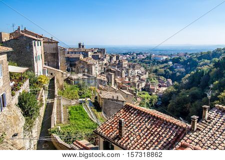 Cityscape of Caprarola a town in the province of Viterbo in the Lazio region of central Italy.
