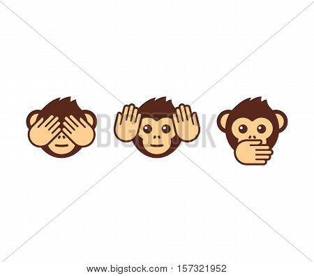 See no evil hear no evil speak no evil. Three wise monkeys vector icons.