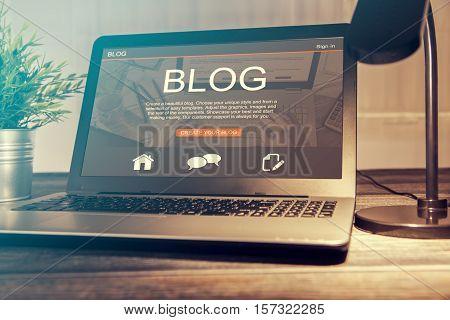 blogging blog word coder coding using laptop page keyboard notebook blogger internet computer marketing opinion interface layout design designer concept - stock image