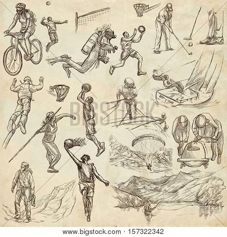 SPORTS. Sporting events around the World. Collection of an hand drawn illustrations. Set of full sized drawings on old paper. Jevelin throw, Paragliding, Fishing, Bobsled, Climbing (... and more)