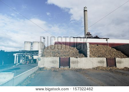 Bio Power Plant With Storage Of Wooden Fuel (biomass) Against Blue Sky