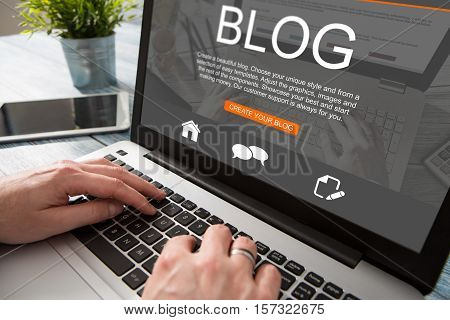 blogging blog word coder coding using laptop page keyboard notebook blogger internet computer marketing opinion interface layout design designer concept - stock image