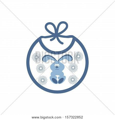 Cute icon with bib with a picture of a bunny in the flowers on a white background