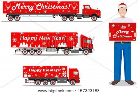 Detailed illustration of Christmas delivery truck and deliveryman hold the box on white background in flat style. Vector illustration.