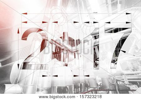 2017 Year Text Calendar Blueprint Drawing Combined With Picture Of Equpment