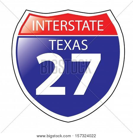 Layered artwork of Texas I-27 Interstate Sign