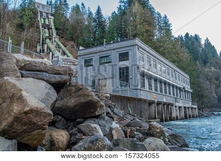 A view of the hydroelectric power plant at Snoqualmie Falls in Washington State.