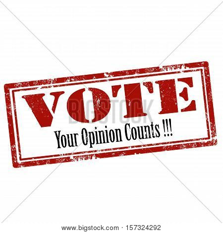 Red stamp with text Vote-Your Opinion Counts,vector illustration