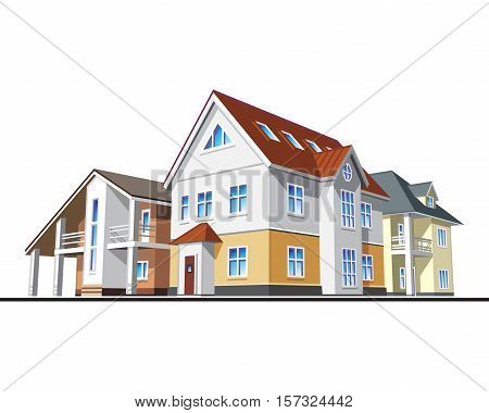 Individual residential houses. Suburban homes or cottages. Vector illustration