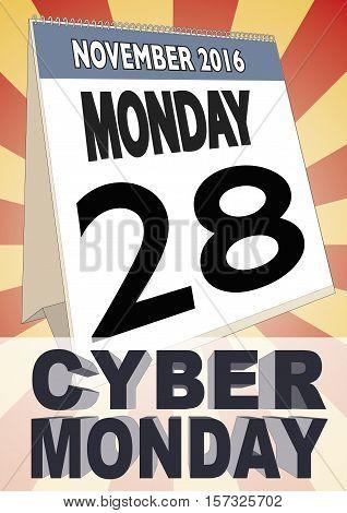 Cyber Monday 2016 Calendar Sheet