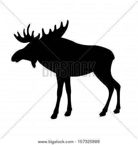 moose elk vector illustration black silhouette profile