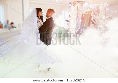 Amazing First Wedding Dance Of Newlywed With Different Colourful Light, Cold Fire With Fireworks And