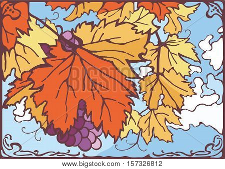 Bunch of autumn grape leaves and grapes, nice sunny day, clouded bright blue sky on the background. Vector eps 10 hand drawn illustration. Vintage, art nouveau, new art, stained glass style.