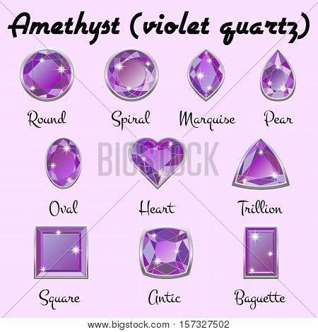 Set of different types of cuts of precious stone Amethyst in realistic shapes in violet color with silver edging. Vector illustration