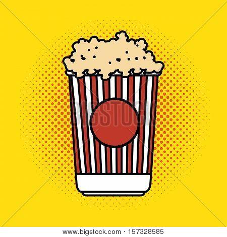 pop corn bucket pop art design vector illustration eps 10