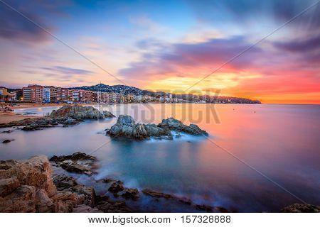 Sunset above Lloret de mar, Catalunia, Spain
