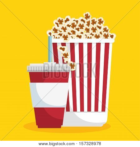 pop corn soda straw food cinema vector illustration eps 10