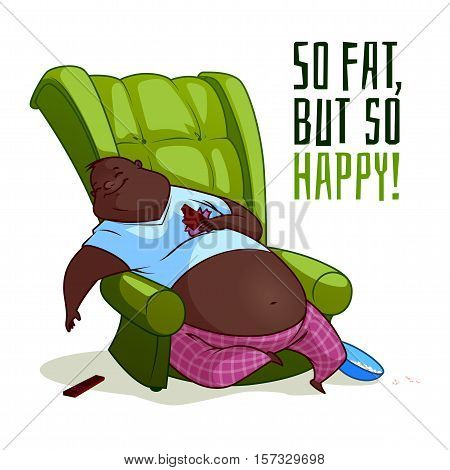 The fat African American man in a chair. So fat but so happy! Vector illustration on a white background.