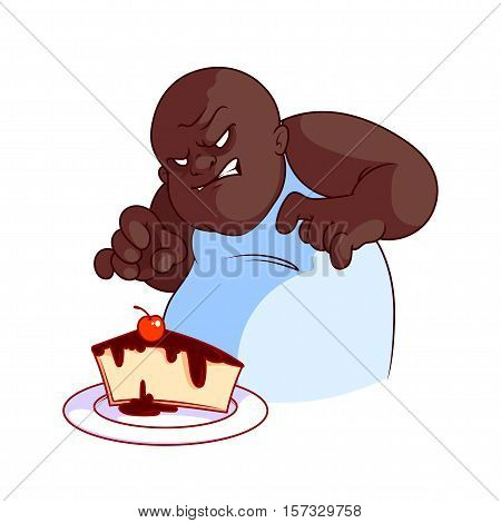 Very hungry and evil fat African American man with cheesecake. Vector illustration on a white background.