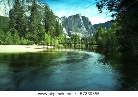 Upper Yosemite Falls in the morning Yosemite National Park California