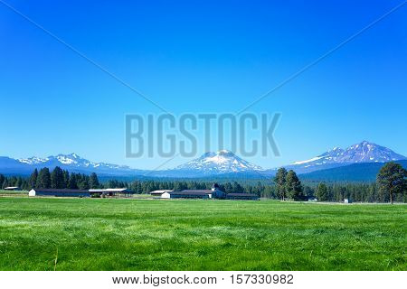 View of Three Sisters mountains part of the Cascade Range in Sister Oregon