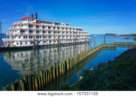 View of an old style riverboat in the Columbia River in Astoria Oregon