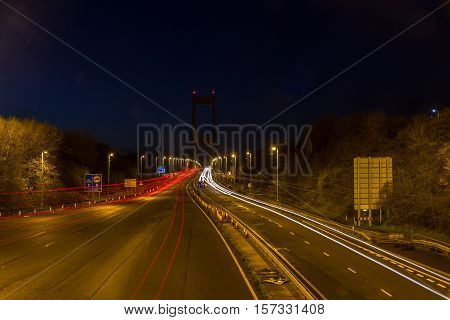 Severn Crossing At Night, Car Trails