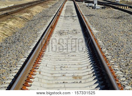Railroad Tracks At The Train Station