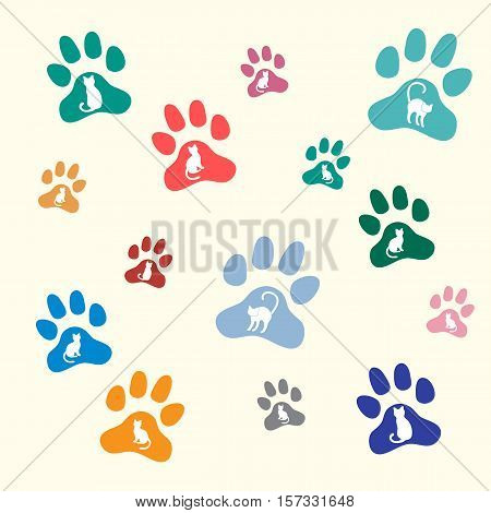 Nice Picture Of Silhouette Cats Sit And Stand Inside Multicolored Animal Traces.