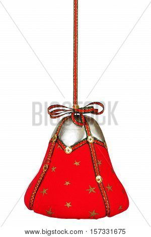 Red Christmas bell with ribbon isolated on white background