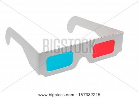 Cardboard 3D glasses isolated on white background