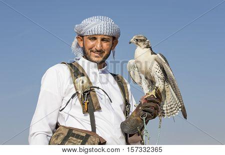 Falconer Is Training Peregrine Falcon In A Desert Near Dubai