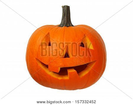 Small halloween pumpkin isolated on white background